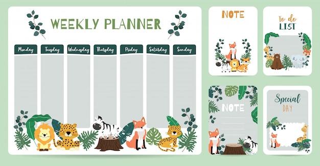 Agenda hebdomadaire animal mignon