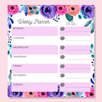 Agenda hebdomadaire avec aquarelle coloré floral
