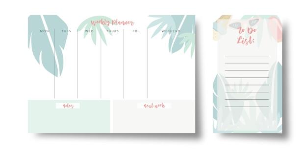 Agenda hebdomadaire d'été et liste de tâches