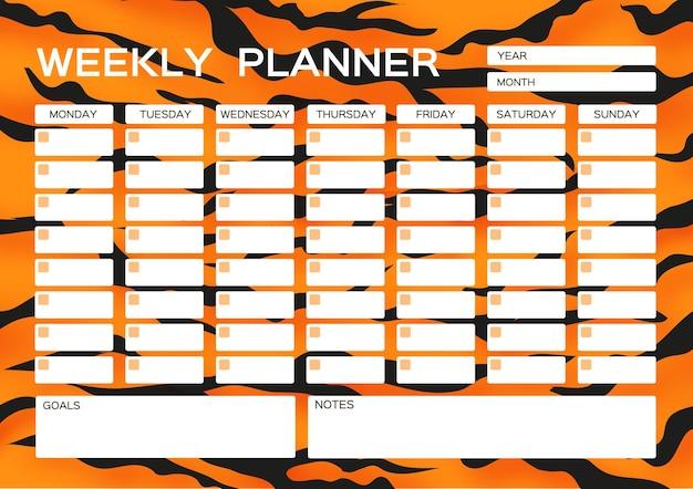 Agenda hebdomadaire jolie page pour notes cahiers décalcomanies agenda accessoires scolaires fourrure de tigre