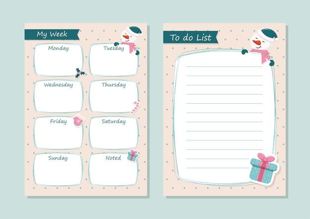 Agenda hebdomadaire et liste de tâches prêt pour l'impression