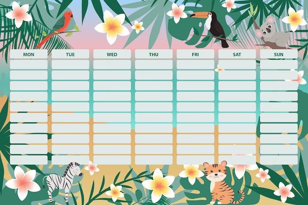 Agenda hebdomadaire pour enfants avec des animaux mignons et des feuilles tropicales page de l'organisateur hebdomadaire de l'école