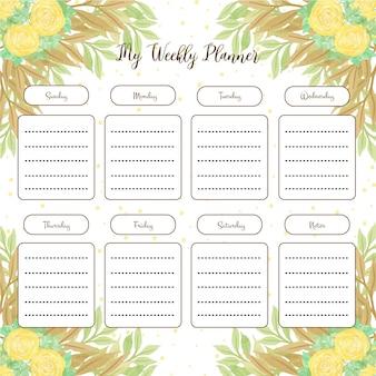 Agenda hebdomadaire avec des roses jaunes