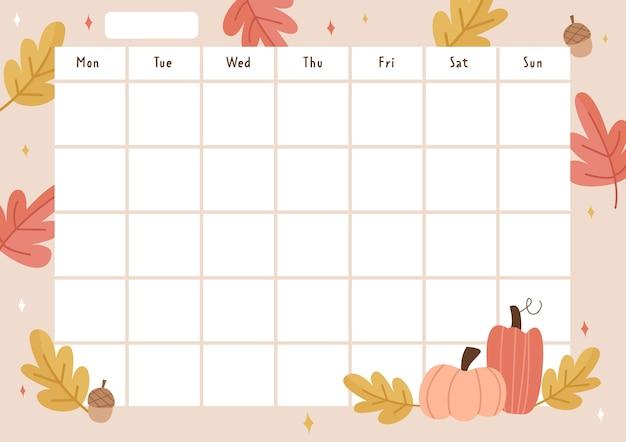 Agenda hebdomadaire sur le thème de l'automne
