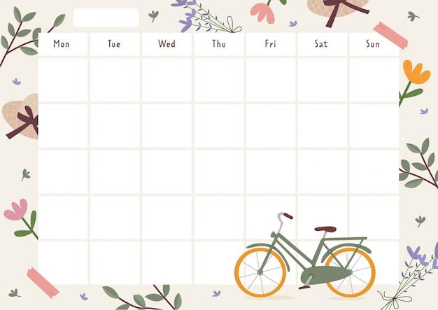 Agenda hebdomadaire sur le thème du printemps