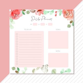 Agenda quotidien avec bordure d'aquarelle florale rose
