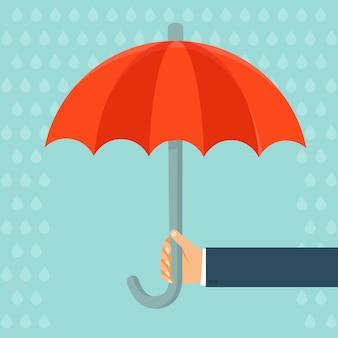Agent D'assurance De Vecteur Avec Parapluie Vecteur Premium