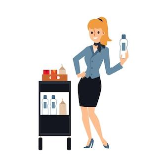 Agent de bord féminin servant des boissons à partir de chariot de nourriture - hôtesse de l'air de dessin animé