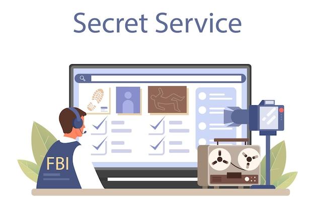 Agent du fbi service en ligne ou agent de police de la plate-forme enquêtant sur un crime