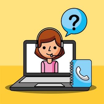 Agent de la femme dans les questions d'ordinateur portable marquent le service client