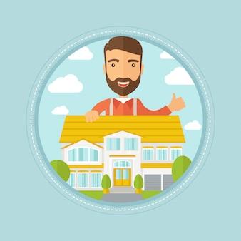 Agent immobilier abandonnant le pouce