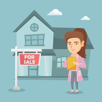 Agent immobilier caucasien signant un contrat.