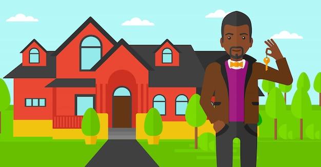 Agent immobilier avec clé.