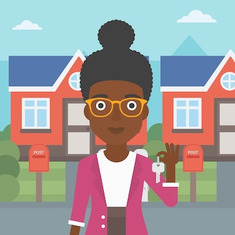 Agent immobilier avec illustration vectorielle clé.