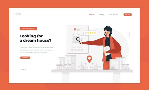 L'agent immobilier propose une illustration immobilière sur le concept de page de destination