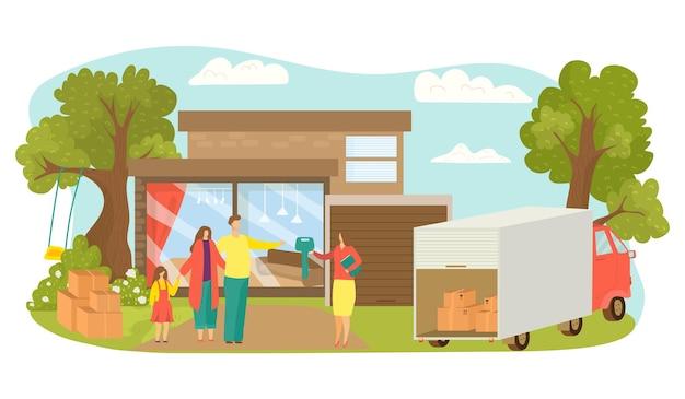 L'agent immobilier vend une maison, une famille achète un appartement, une illustration vectorielle. une femme agent donne un personnage clé à la mère, au père et à la fille près de la maison immobilière. un camion avec des boîtes se tient près de la nouvelle maison.