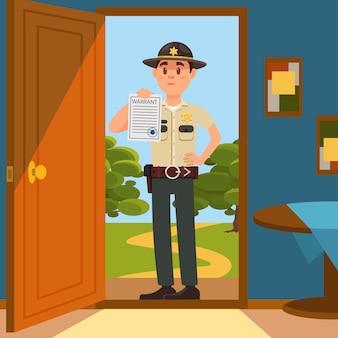 Agent de police de shérif de la ville de caractère en uniforme officiel debout sur le seuil de la maison et montrant la feuille de papier de mandat illustration