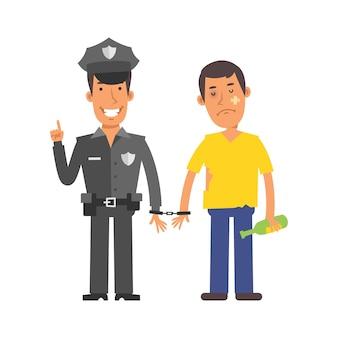 Agent de police tenant un homme ivre menotté. caractères vectoriels. illustration vectorielle