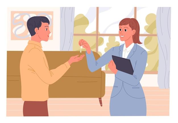 L'agent remet les clés de l'appartement au nouveau locataire