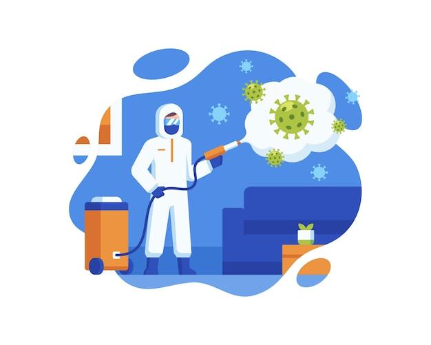 Un agent de santé pulvérise un liquide désinfectant pour stériliser le coronavirus
