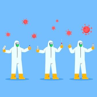 L'agent de santé des vêtements de protection tient l'outil de diagnostic covid et le vaccin
