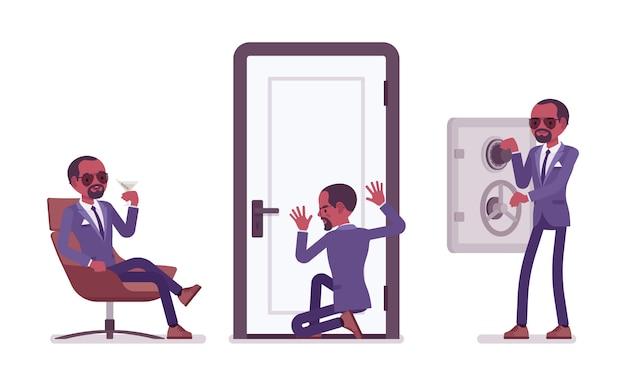 Agent secret homme noir, gentleman espion du service de renseignement, découvre des données, collecte des informations politiques ou commerciales, commet de l'espionnage d'entreprise, se détend. illustration de dessin animé de style