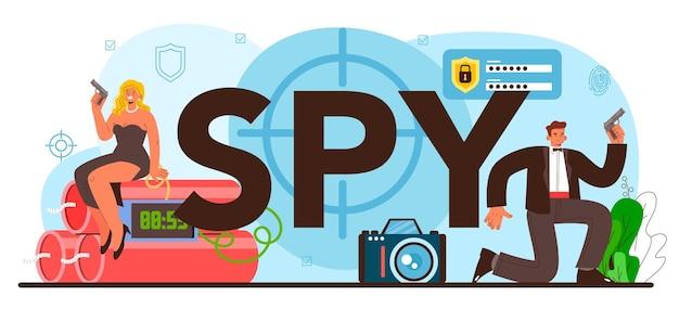 Agent secret d'en-tête typographique d'espion ou fbi enquêtant sur le crime