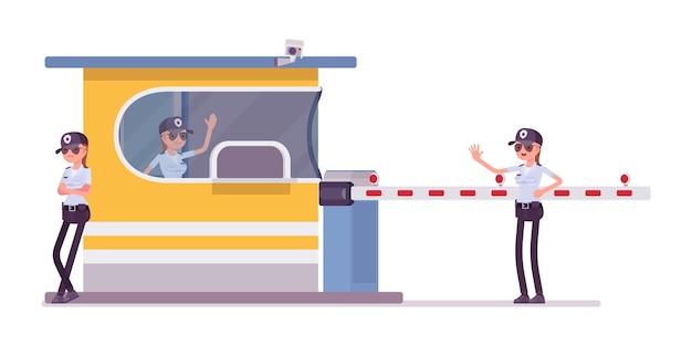Agent de sécurité féminin au péage