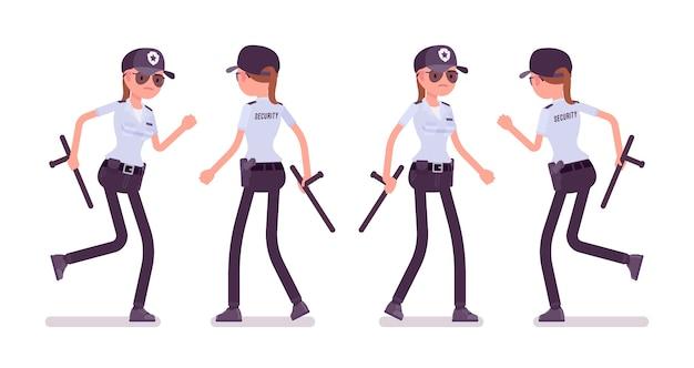 Agent De Sécurité Féminin Marchant Et Courant Vecteur Premium