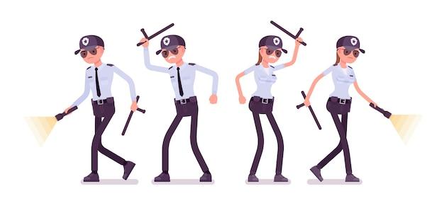 Agent de sécurité masculin et féminin au travail