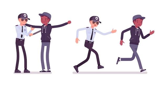 Agent de sécurité masculin inspectant et suivant un homme