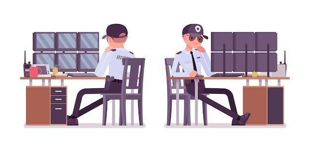 Agent De Sécurité Masculin Surveillant Les Systèmes D'alarme Vecteur Premium