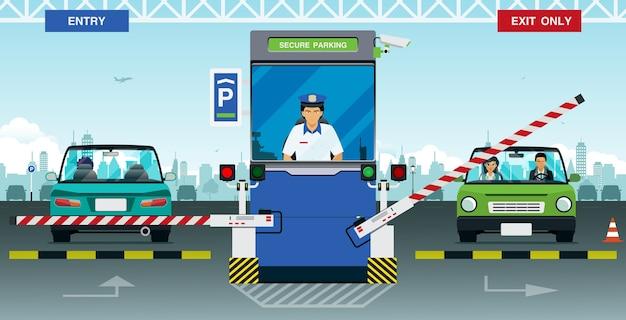 Agent de sécurité en poste à l'entrée du parking