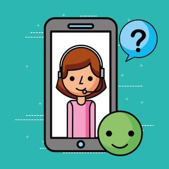 Agent de smartphone bonnes questions marquent le service à la clientèle