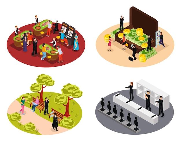 Agent spécial espion collection 4x1 isométrique de compositions rondes isolées avec des agents secrets dans divers environnements