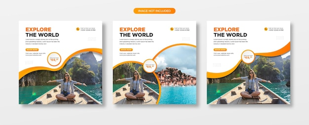 Agent de voyage et publication sur les réseaux sociaux du tourisme ou bannière web et modèle de flyer carré