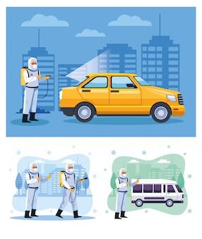Des agents de biosécurité désinfectent un taxi et une camionnette