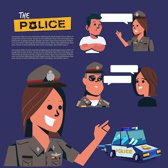 Les agents de police en uniforme parlant pour l'ensemble d'informations