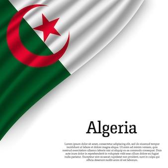Agitant le drapeau de l'algérie sur blanc