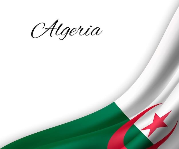 Agitant le drapeau de l'algérie sur fond blanc.