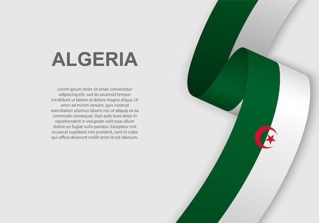 Agitant le drapeau de l'algérie.
