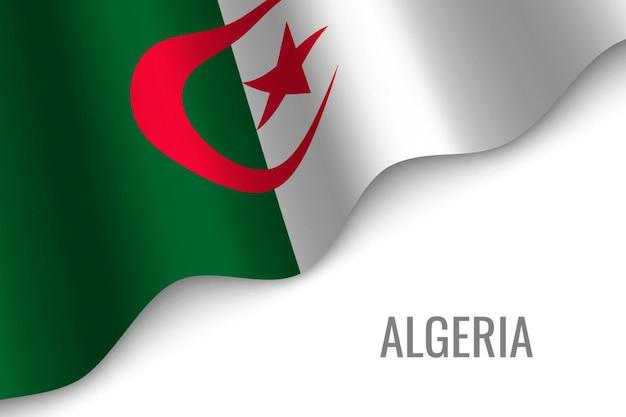 Agitant le drapeau de l'algérie