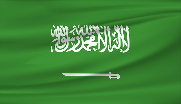 Agitant le drapeau de l'arabie saoudite