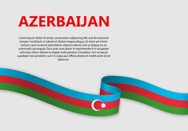 Agitant le drapeau de la bannière de l'azerbaïdjan
