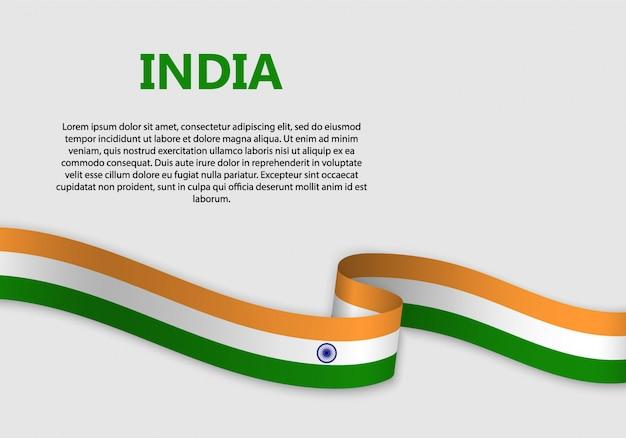 Agitant le drapeau de la bannière de l'inde