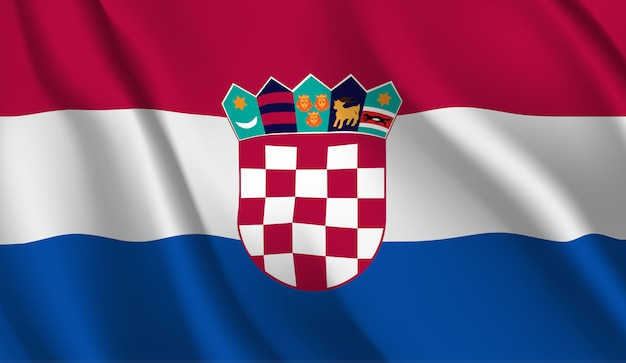Agitant le drapeau de la croatie. agitant le drapeau de la croatie