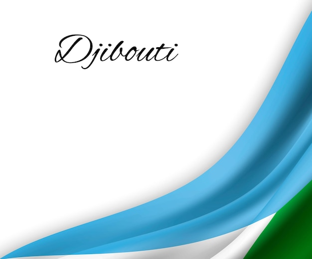 Agitant le drapeau de djibouti sur fond blanc.