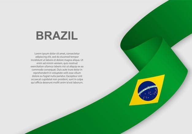 Agitant le drapeau du brésil.