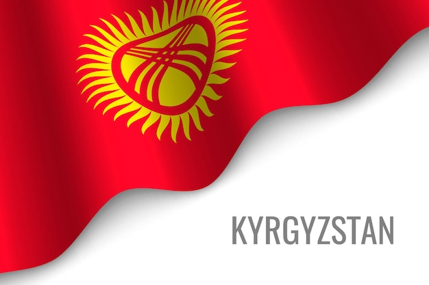 Agitant le drapeau du kirghizistan