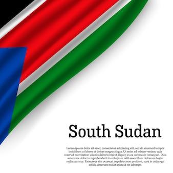 Agitant le drapeau du soudan du sud sur blanc
